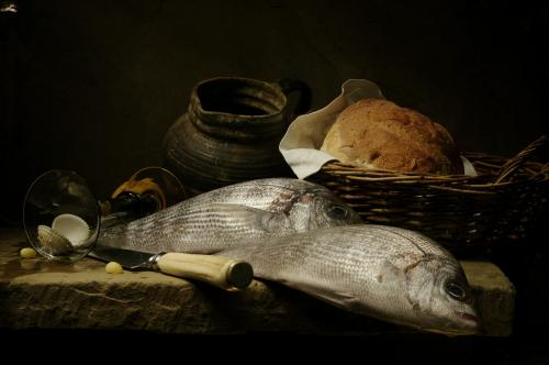 Still life with Fish, Bread and Wine